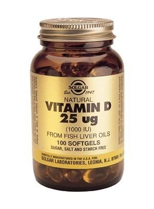 Solgar Vitamin D 1000IU (25mcg) Softgels 100 Capsules